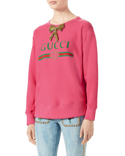 Gucci-Print Sweatshirt with Crystal Bow, Bright Pink