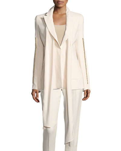 Botton-Sleeve Blazer with Scarf, White