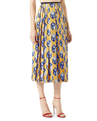 GG Wallpaper Silk Twill Pleated Skirt, Yellow