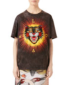 Embroidered Cat Jersey T-Shirt, Black