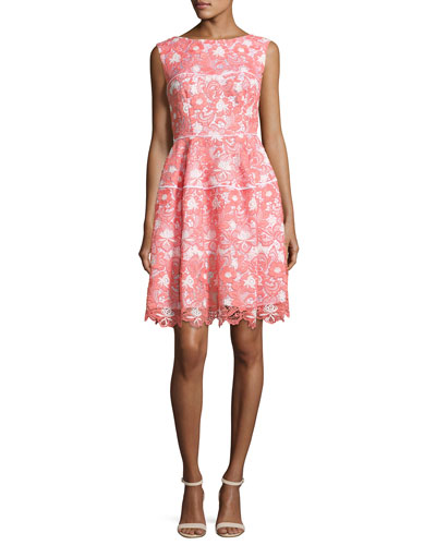 Floral Lace Sleeveless Dress, Coral