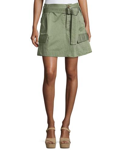 Belted Cargo-Pocket Mini Skirt, Camouflage