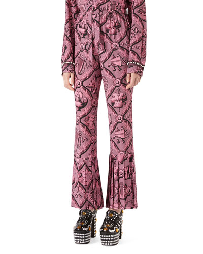 Romain Printed Silk Pants, Pink/Black