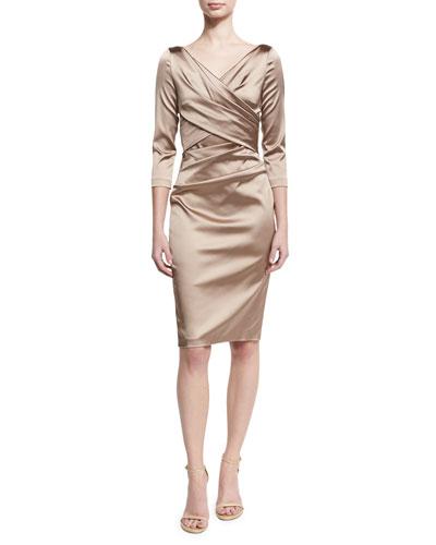 Movie Satin 3/4-Sleeve Sheath Cocktail Dress, Stone