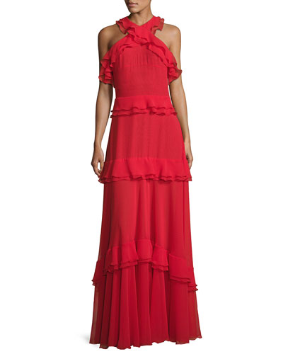 Morissa High-Neck Sleeveless Tiered Ruffle Gown, Red