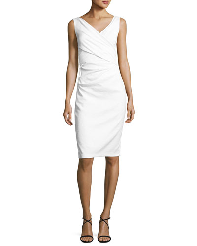 Textured Stretch-Cotton Sleeveless Dress, White