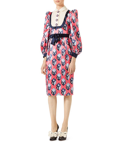 GUCCI GG WALLPAPER PRINTED SILK DRESS, PINK/BLUE, PINK PRINT