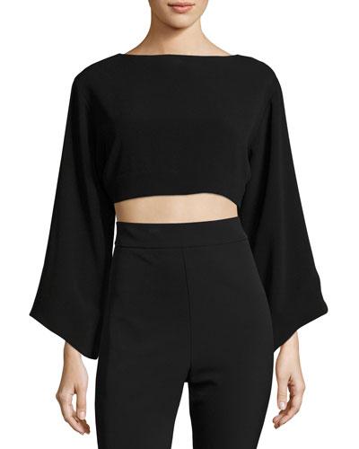 Keira Full-Sleeve Tie-Back Crop Top, Black
