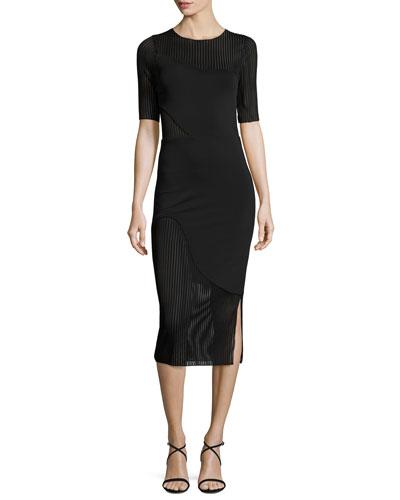 Jacqueline Illusion-Stripe Sheath Dress, Black