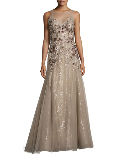 Floral-Embroidered Illusion Gown, Mushroom