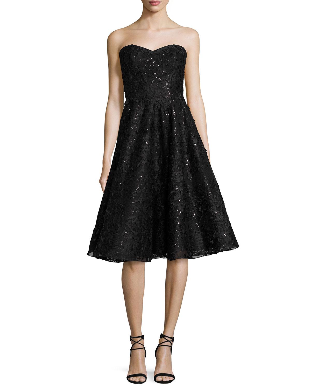 Embellished Lace Strapless Cocktail Dress, Black