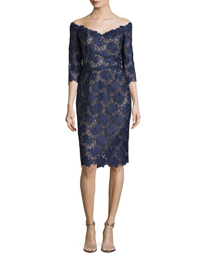 Floral Guipure Lace Off-the-Shoulder Cocktail Dress, Marine