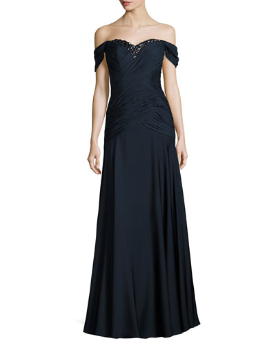 Embellished Off-the-Shoulder Draped Georgette Gown, Navy
