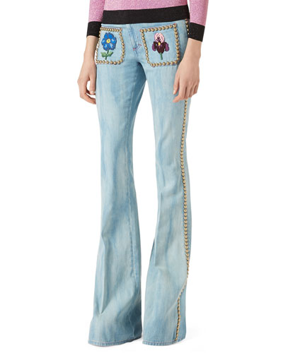 Embroidered Denim Flare-Leg Pants with Studs