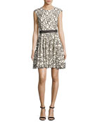Floral Lace Cap-Sleeve Dress, White/Black