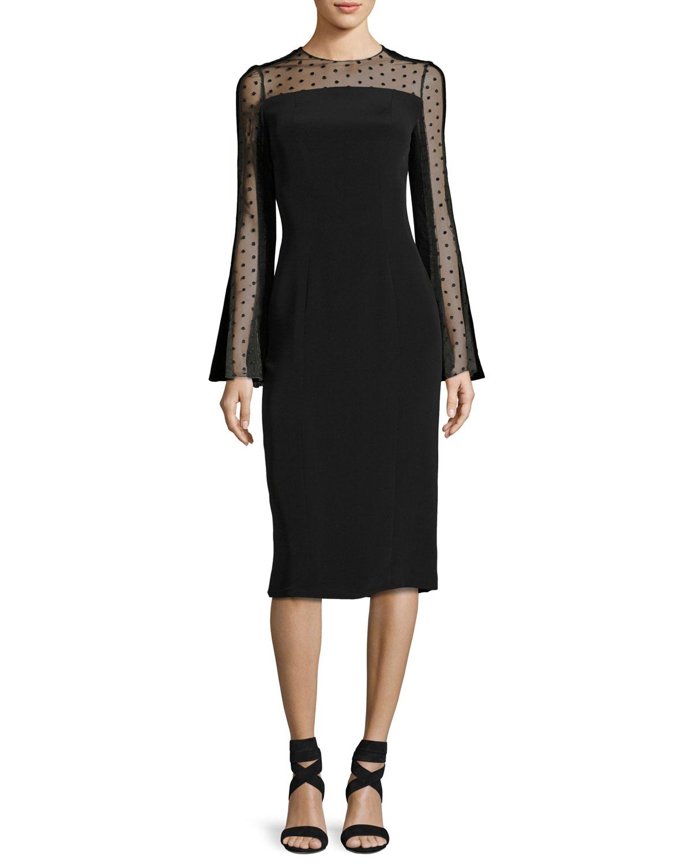 Long-Sleeve Point d'Esprit Cocktail Dress, Black