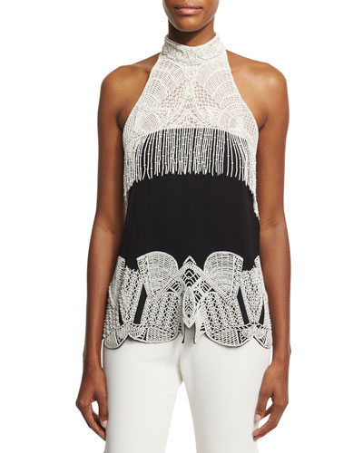 Two-Tone Beaded Halter Top, Black/White