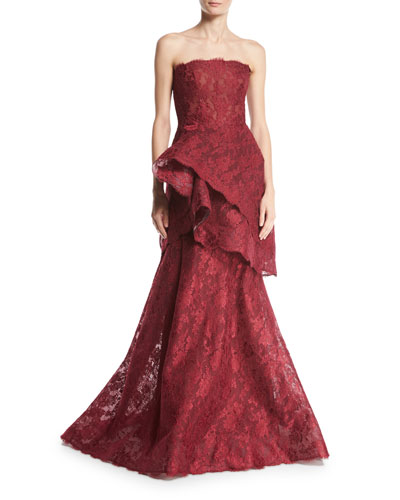 Chantilly Lace Strapless Trumpet Gown, Cherry
