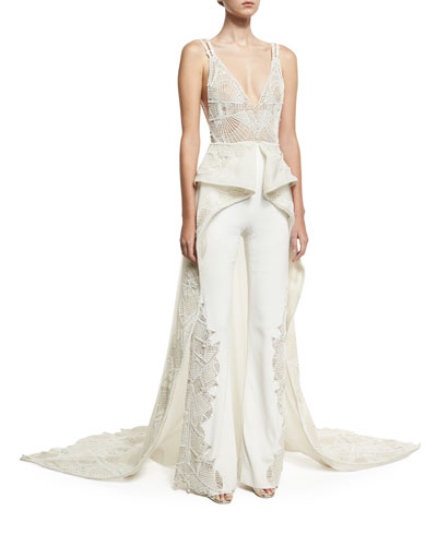 Web Lace High-Low Skirted Jumpsuit, Ivory