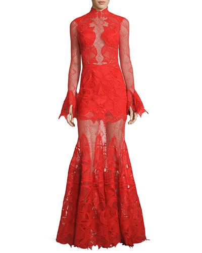 Long-Sleeve Geometric Lace Mermaid Gown
