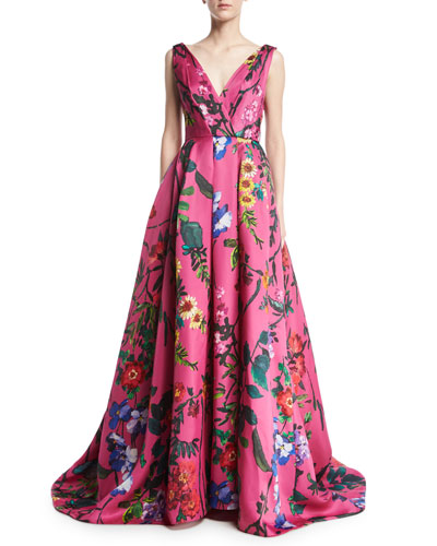 Garden Floral Sleeveless Ball Gown, Pink