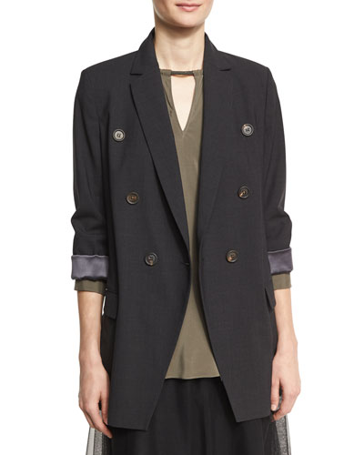 Double-Breasted Long Blazer Jacket with Monili Belt, Onyx