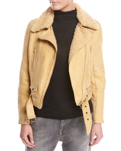 Belted Shearling Fur Moto Jacket, Marigold