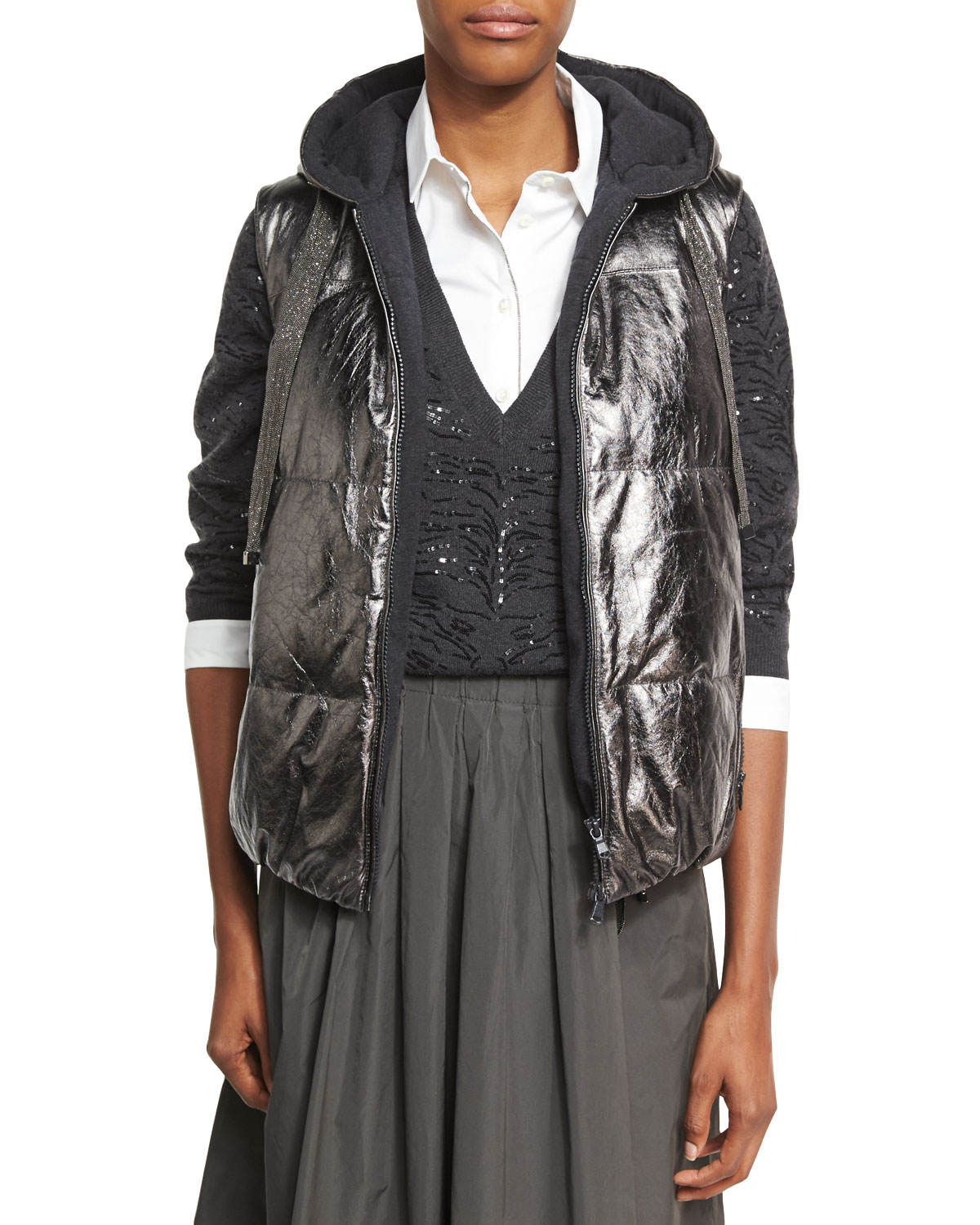 Metallic Leather Puffer Vest, Gray