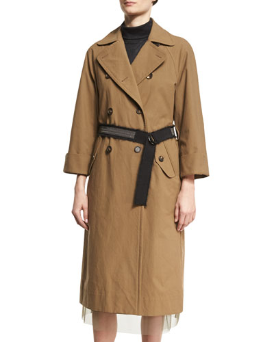 Double-Breasted Cotton Trench Coat with Belt