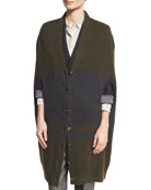 Bicolor Cashmere English Rib Cocoon Cardigan, Forest/Charcoal