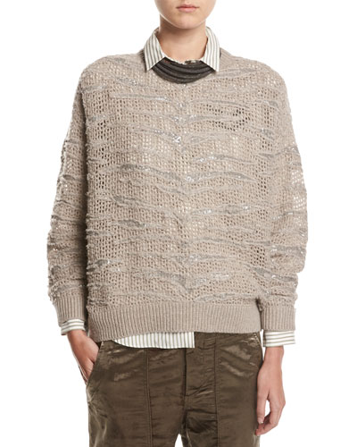 Animale Paillette Open-Knit Cashmere Sweater, Taupe