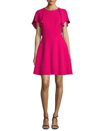 Flutter-Sleeve Tie-Back Fit & Flare Dress, Magenta