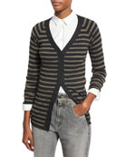 Metallic-Stripe Wool-Cashmere V-Neck Cardigan, Gray/Green