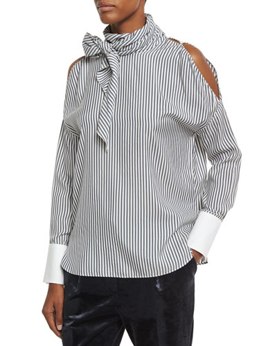 Striped Silk Cold-Shoulder Tie-Neck Blouse, White/Blue