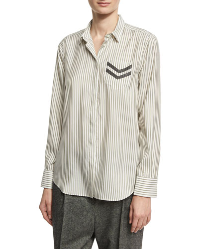 Striped Silk Shirt with Monili Military Beading, White/Green