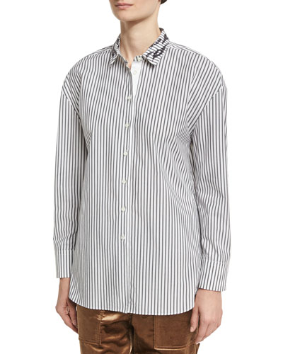 Striped Cotton Shirt with Animale Paillette Collar