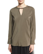 Stretch-Silk Blouse with Monili Collar, Green