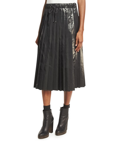 Metallic Taffeta Pleated Skirt, Charcoal