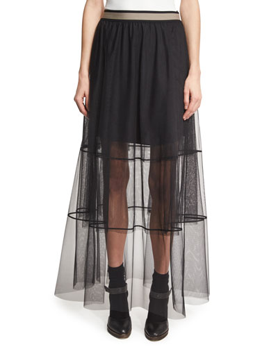 Sheer Tiered Tulle Maxi Skirt with Contrast Waist, Black