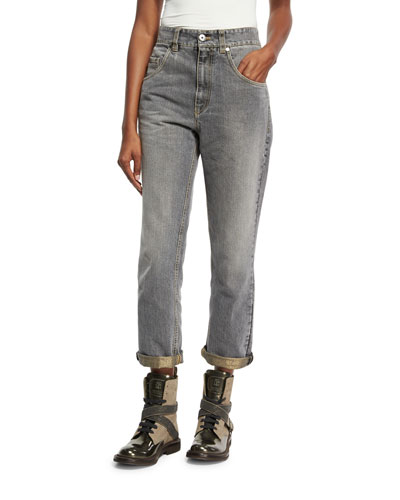 High-Waist Boyfriend Jeans, Gray