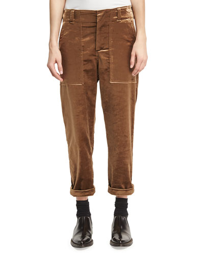 Velvet Cargo Pants, Bronze (Brown)