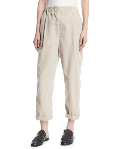 Corduroy Single-Pleat Pants