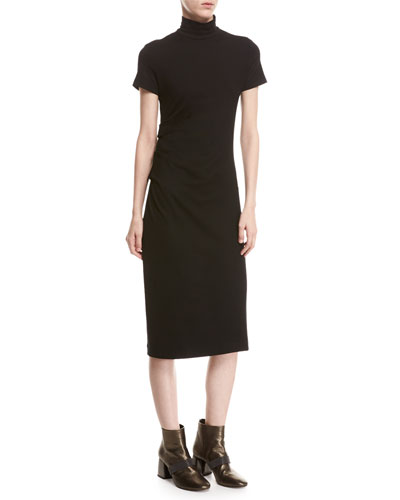 Short-Sleeve Monili-Trim Jersey Turtleneck Midi Dress