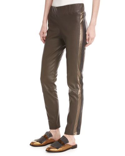 Metallic-Stripe Leather Pants, Espresso