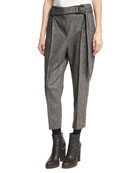 Tweed Single-Pleat Pants with D-Ring Belt, Black/White