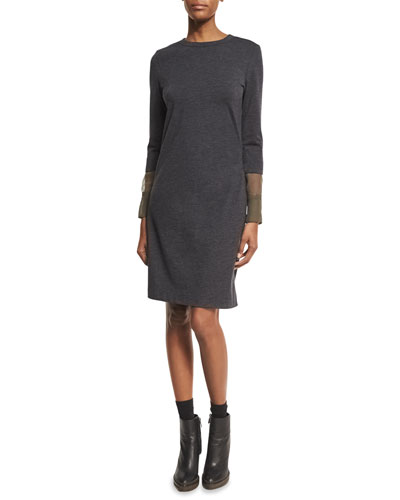 Wool Jersey Dress with Organza Cuffs, Smoke