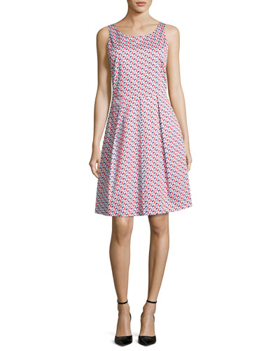 Mosaic-Print Sleeveless A-Line Dress, Multicolor