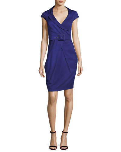 Cap-Sleeve Portrait-Collar Dress with Belt, Purple