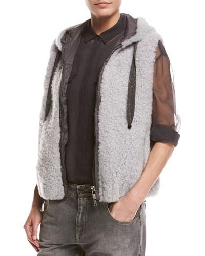 Monili-Trim Reversible Shearling Vest