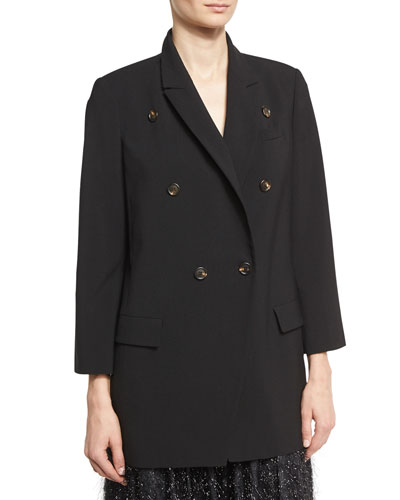 Double-Breasted Wool Blazer, Black